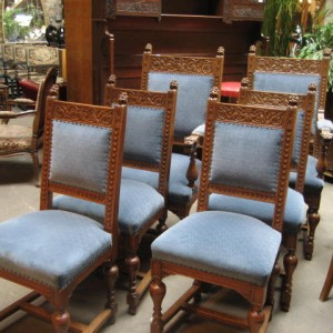 Set Of 6 Carved Oak Antique Dining Chairs In The R J Horner Style With Lion Heads