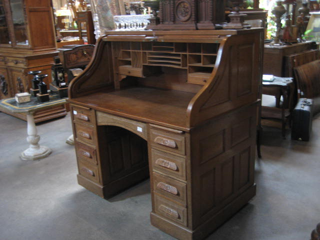 Antique 50 Oak Roll Top Desk With Raised Panels And