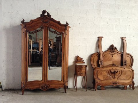 Three piece Walnut French Louis XV Bedroom Suite. Ca. 1890 ...