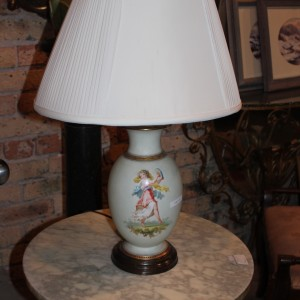Antique Continental Hand Painted Porcelain Lamp Ca 1890 Olde