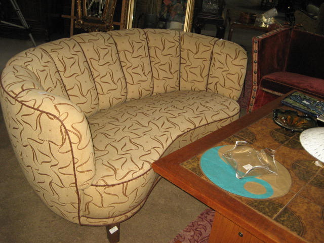 Brown Print Banana Couch Sofa Olde Chicago Antiques