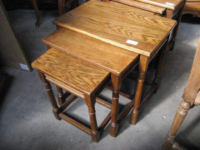 Tags: Antique Carved Oak, Antique Nesting Tables, Golden Oak, Nesting  Coffee Tables