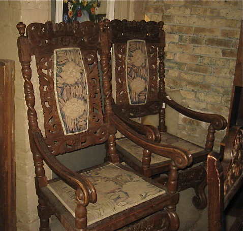 Tags: antique carved oak, antique carved salon, antique seating. - Pair Of Throne Or Fireside Chairs – Carved Oak Olde Chicago Antiques