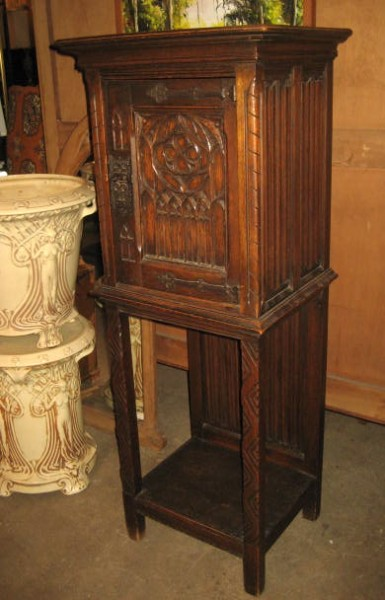 Gothic Cabinet Or Display Box Hand Carved Oak 1890 S