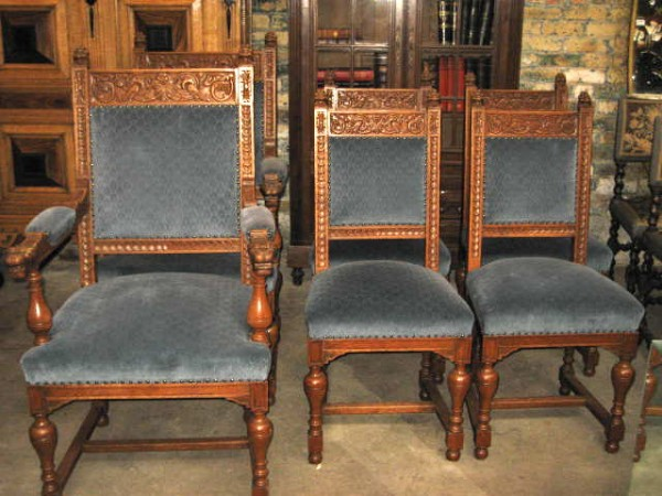 IMG_8840 - Antique Carved Oak Set Of 6 Chairs – Lion Heads Olde Chicago Antiques