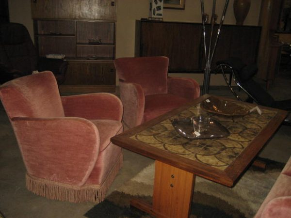 Art deco salon set 2 club chairs and sofa from denmark for Art deco furniture chicago