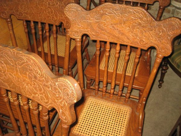 Tags: antique carved oak, antique carved salon, antique seating., North  wind face, side chairs - Set Of 5 Press Back Chairs Olde Chicago Antiques