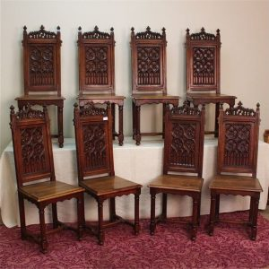 1940/'s Antique Jacobean Gothic Revival Walnut Dining Side Chair