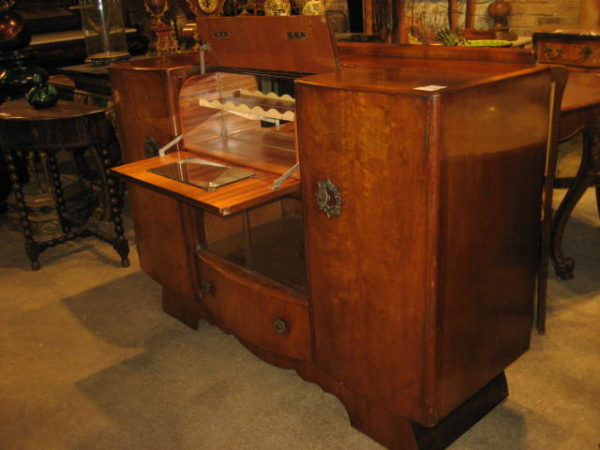 Art deco buffet with hidden pop up bar olde chicago antiques for Art deco furniture chicago