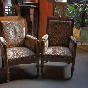 Pair Of Arm Chairs, Beautiful Inlaid Wood From Denmark C1890